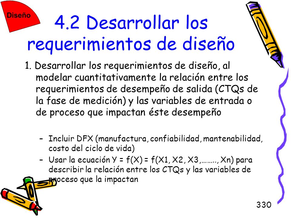 330 4.2 Desarrollar los requerimientos de diseño 1. Desarrollar los requerimientos de diseño, al modelar cuantitativamente la relación entre los reque