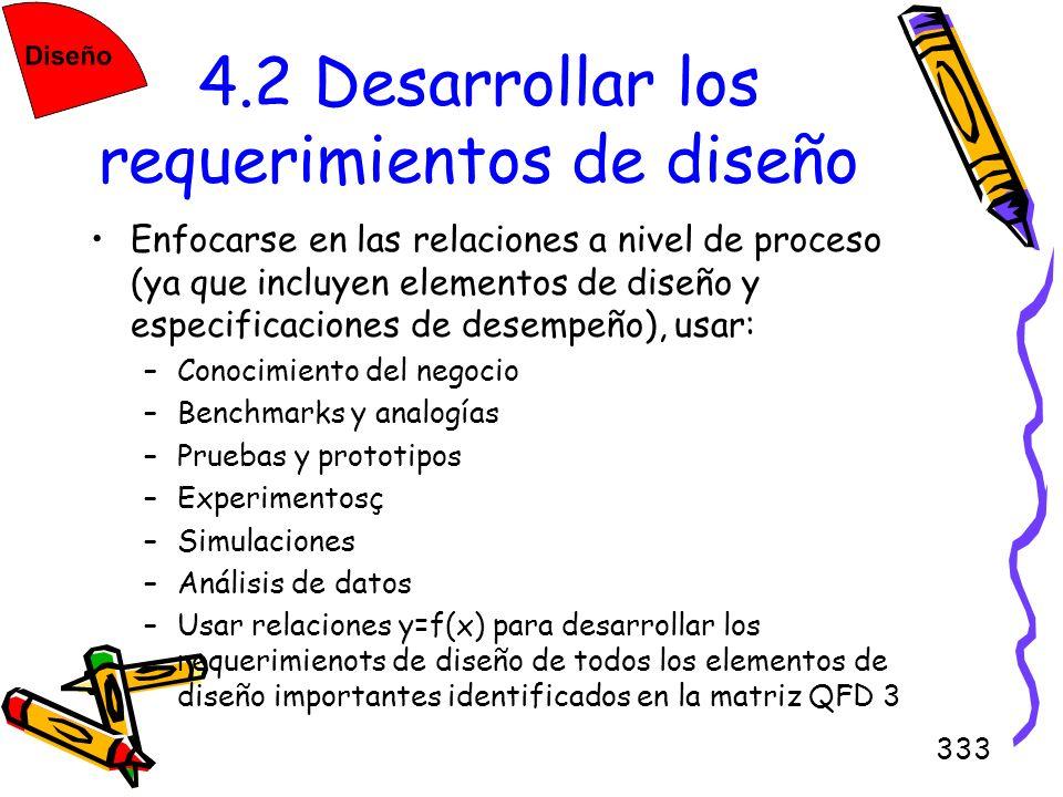 333 4.2 Desarrollar los requerimientos de diseño Enfocarse en las relaciones a nivel de proceso (ya que incluyen elementos de diseño y especificacione