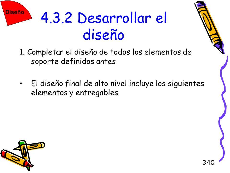 340 4.3.2 Desarrollar el diseño 1. Completar el diseño de todos los elementos de soporte definidos antes El diseño final de alto nivel incluye los sig
