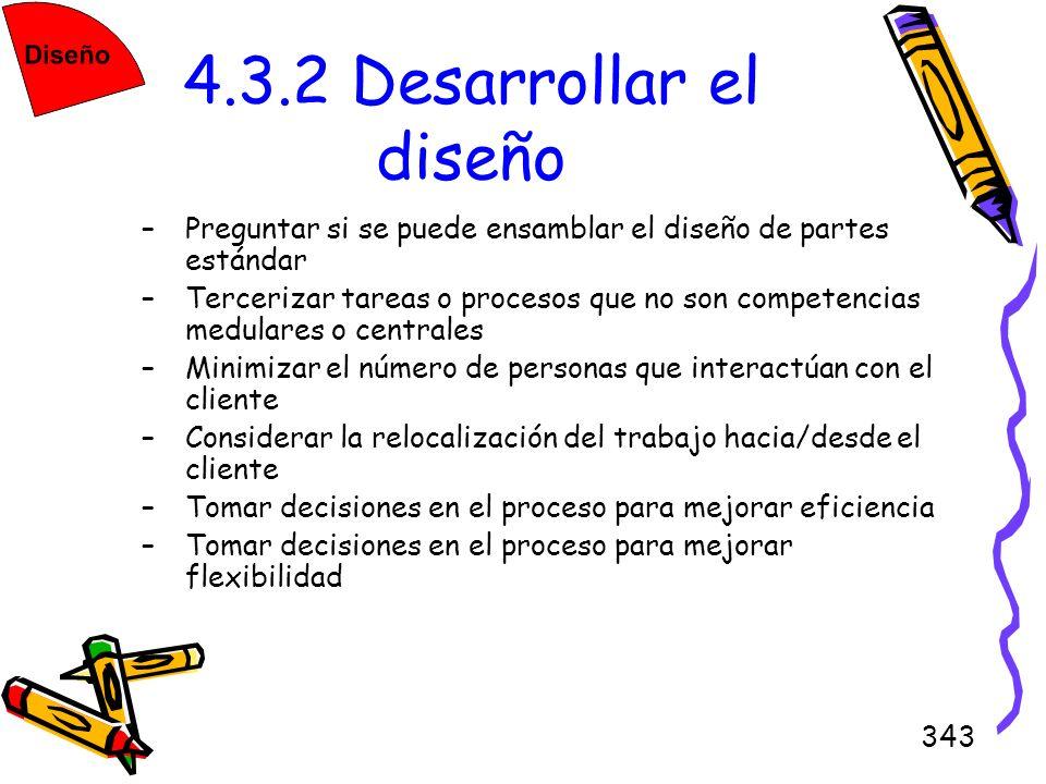 343 4.3.2 Desarrollar el diseño –Preguntar si se puede ensamblar el diseño de partes estándar –Tercerizar tareas o procesos que no son competencias me