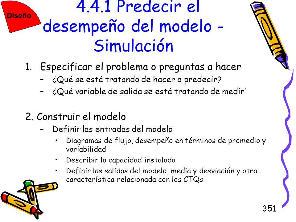 351 4.4.1 Predecir el desempeño del modelo - Simulación 1.Especificar el problema o preguntas a hacer –¿Qué se está tratando de hacer o predecir? –¿Qu
