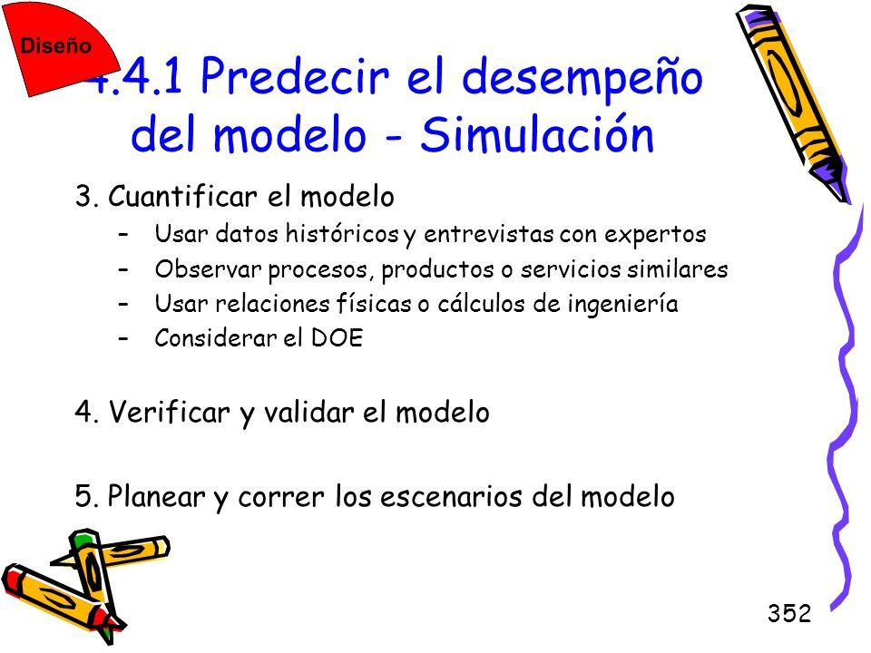 352 4.4.1 Predecir el desempeño del modelo - Simulación 3. Cuantificar el modelo –Usar datos históricos y entrevistas con expertos –Observar procesos,