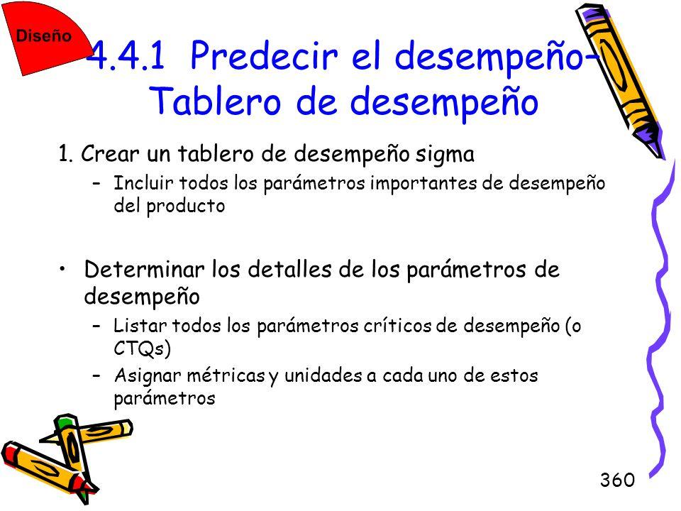 360 4.4.1 Predecir el desempeño– Tablero de desempeño 1. Crear un tablero de desempeño sigma –Incluir todos los parámetros importantes de desempeño de