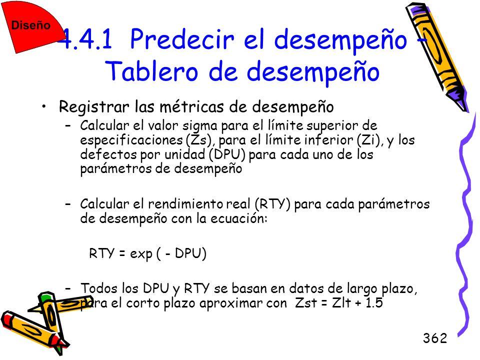 362 4.4.1 Predecir el desempeño – Tablero de desempeño Registrar las métricas de desempeño –Calcular el valor sigma para el límite superior de especif