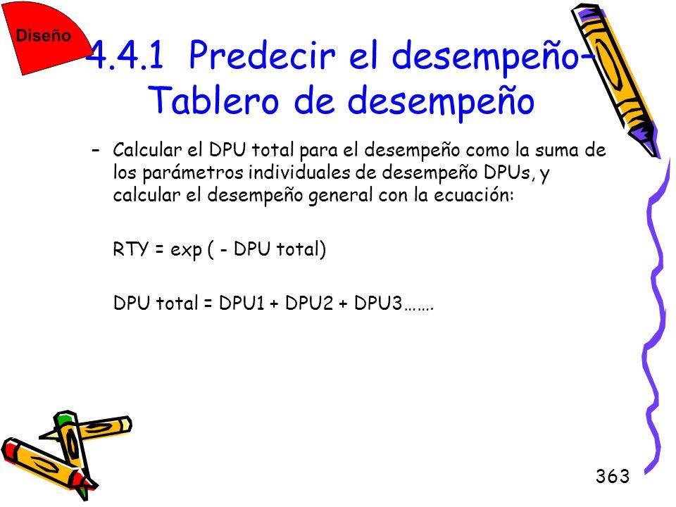 363 4.4.1 Predecir el desempeño– Tablero de desempeño –Calcular el DPU total para el desempeño como la suma de los parámetros individuales de desempeñ