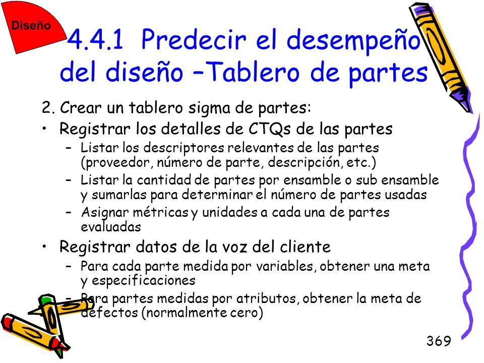 369 4.4.1 Predecir el desempeño del diseño –Tablero de partes 2. Crear un tablero sigma de partes: Registrar los detalles de CTQs de las partes –Lista