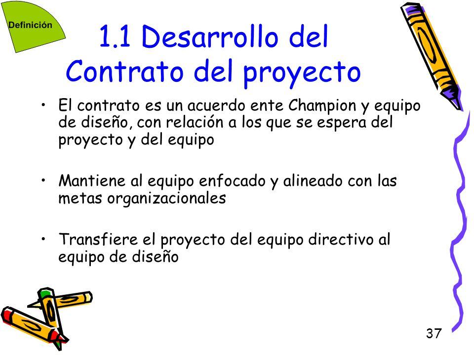 37 1.1 Desarrollo del Contrato del proyecto El contrato es un acuerdo ente Champion y equipo de diseño, con relación a los que se espera del proyecto