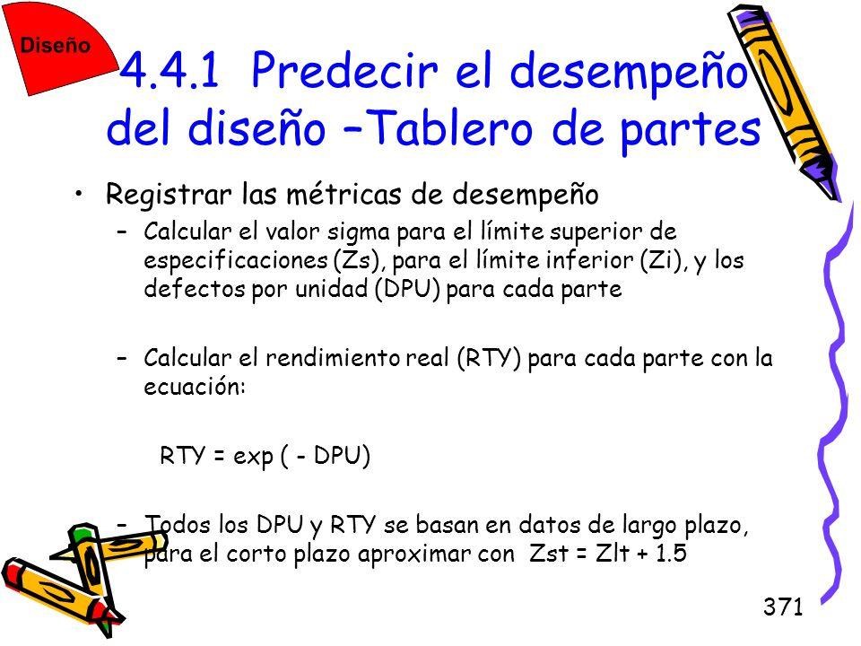 371 4.4.1 Predecir el desempeño del diseño –Tablero de partes Registrar las métricas de desempeño –Calcular el valor sigma para el límite superior de