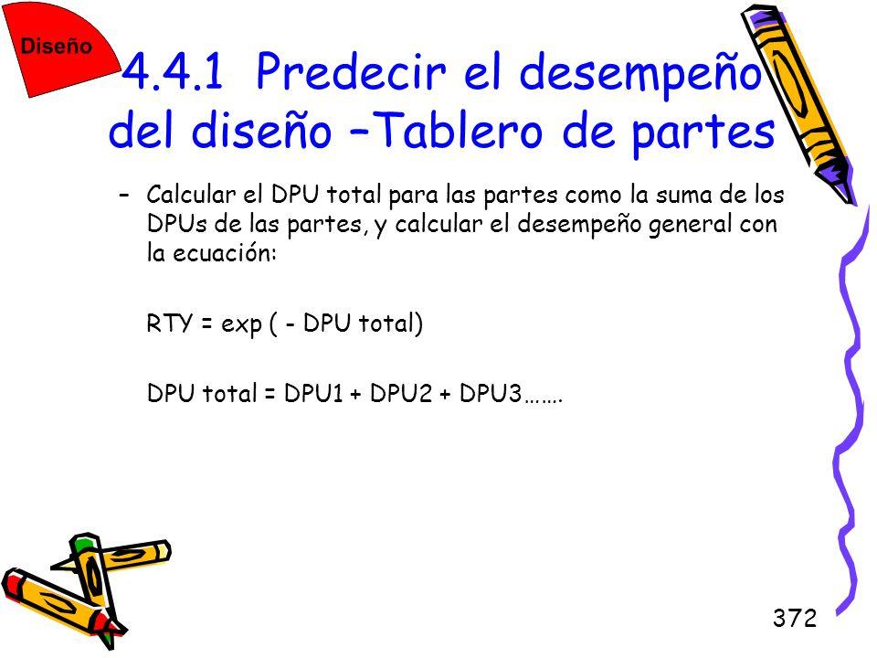 372 4.4.1 Predecir el desempeño del diseño –Tablero de partes –Calcular el DPU total para las partes como la suma de los DPUs de las partes, y calcula