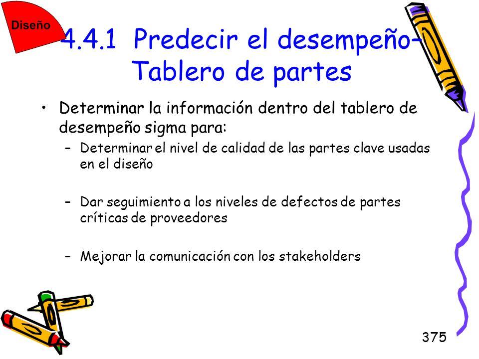 375 4.4.1 Predecir el desempeño– Tablero de partes Determinar la información dentro del tablero de desempeño sigma para: –Determinar el nivel de calid