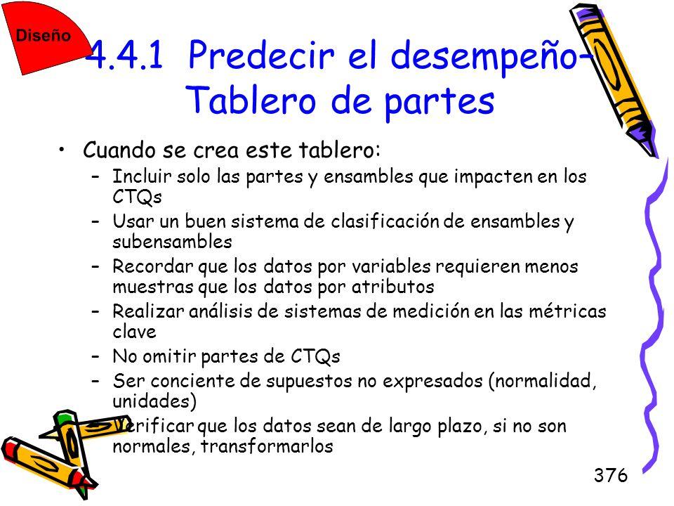 376 4.4.1 Predecir el desempeño– Tablero de partes Cuando se crea este tablero: –Incluir solo las partes y ensambles que impacten en los CTQs –Usar un