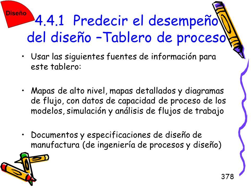 378 4.4.1 Predecir el desempeño del diseño –Tablero de proceso Usar las siguientes fuentes de información para este tablero: Mapas de alto nivel, mapa