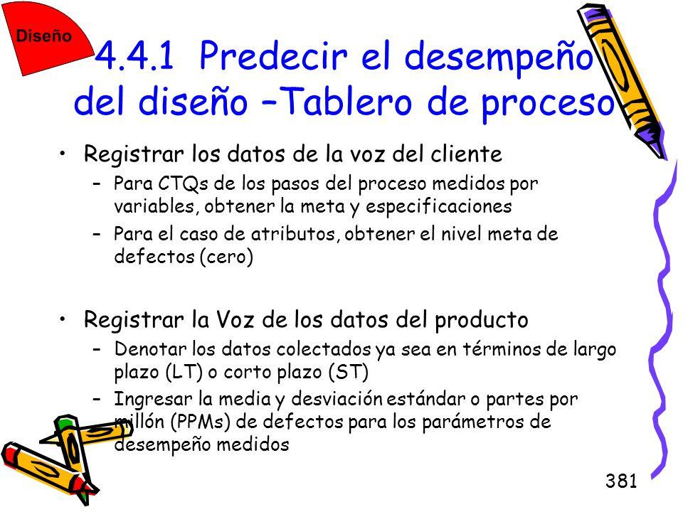 381 4.4.1 Predecir el desempeño del diseño –Tablero de proceso Registrar los datos de la voz del cliente –Para CTQs de los pasos del proceso medidos p