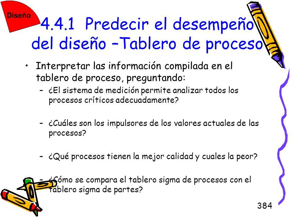 384 4.4.1 Predecir el desempeño del diseño –Tablero de proceso Interpretar las información compilada en el tablero de proceso, preguntando: –¿El siste