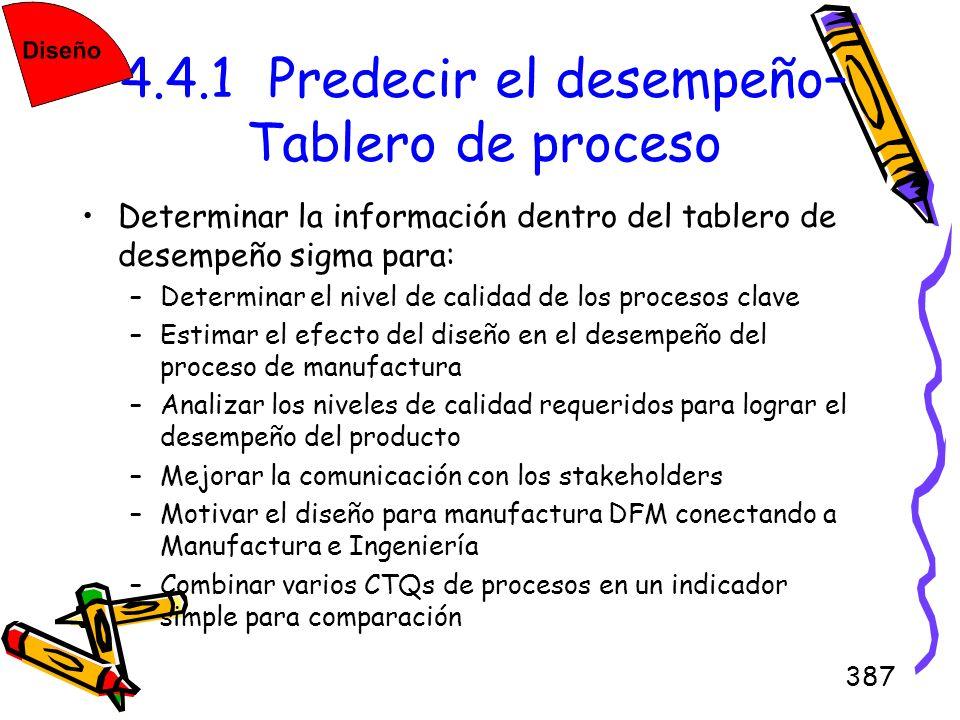 387 4.4.1 Predecir el desempeño– Tablero de proceso Determinar la información dentro del tablero de desempeño sigma para: –Determinar el nivel de cali