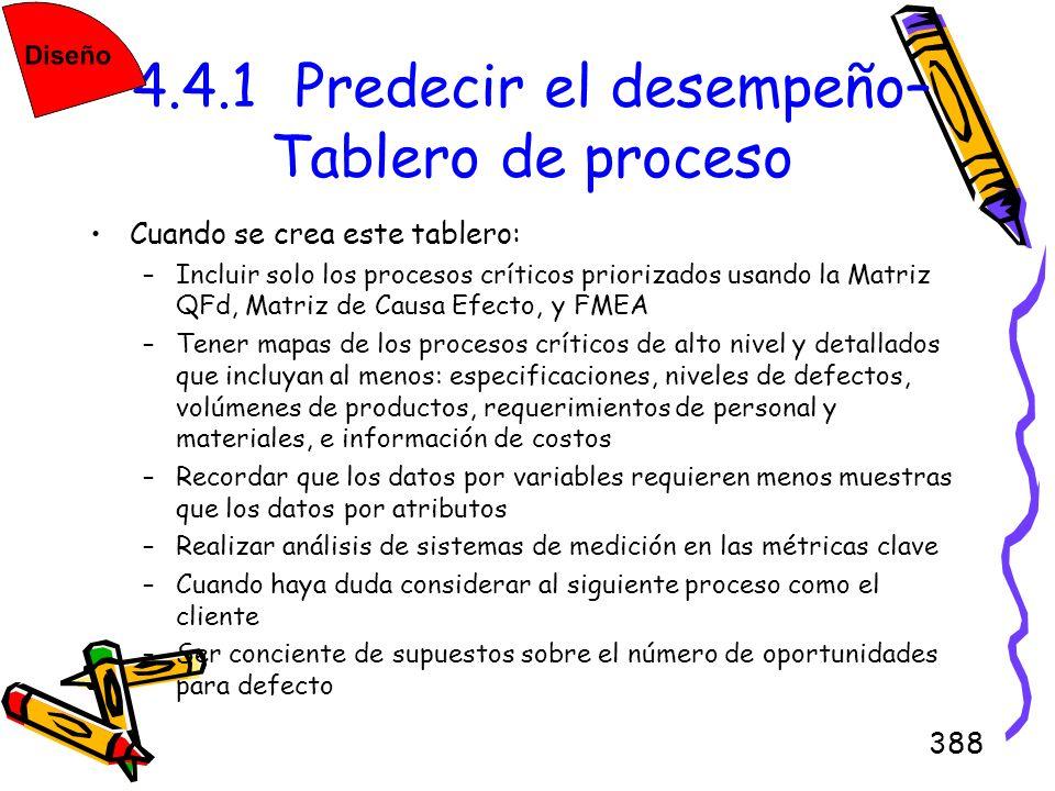 388 4.4.1 Predecir el desempeño– Tablero de proceso Cuando se crea este tablero: –Incluir solo los procesos críticos priorizados usando la Matriz QFd,