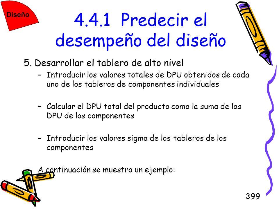 399 4.4.1 Predecir el desempeño del diseño 5. Desarrollar el tablero de alto nivel –Introducir los valores totales de DPU obtenidos de cada uno de los