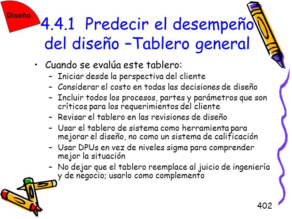 402 4.4.1 Predecir el desempeño del diseño –Tablero general Cuando se evalúa este tablero: –Iniciar desde la perspectiva del cliente –Considerar el co