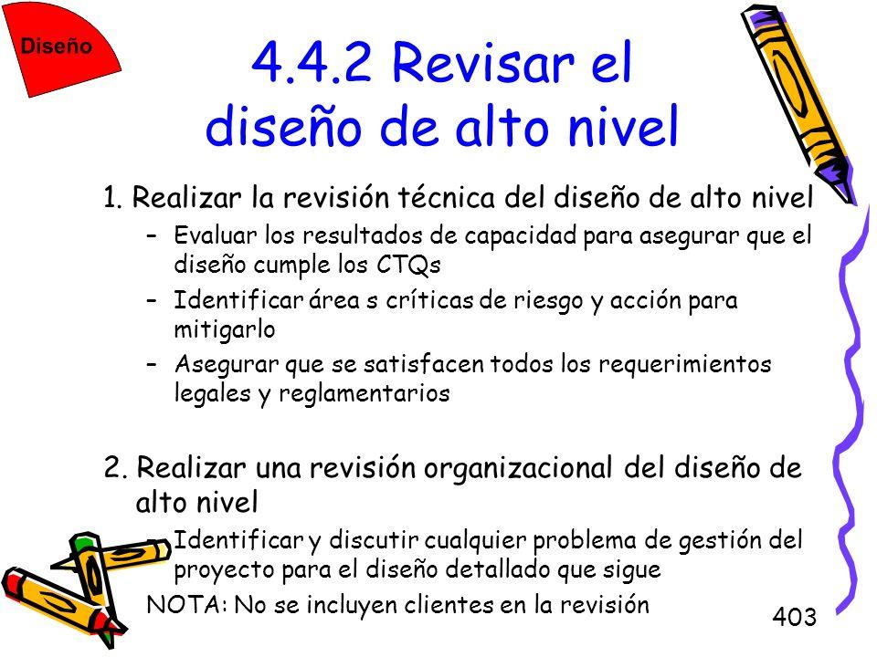 403 4.4.2 Revisar el diseño de alto nivel 1. Realizar la revisión técnica del diseño de alto nivel –Evaluar los resultados de capacidad para asegurar