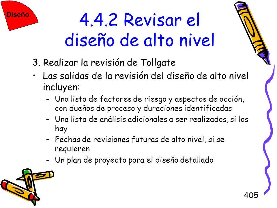 405 4.4.2 Revisar el diseño de alto nivel 3. Realizar la revisión de Tollgate Las salidas de la revisión del diseño de alto nivel incluyen: –Una lista