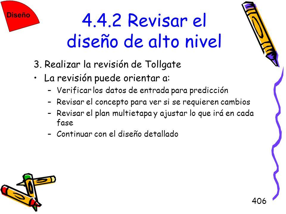406 4.4.2 Revisar el diseño de alto nivel 3. Realizar la revisión de Tollgate La revisión puede orientar a: –Verificar los datos de entrada para predi