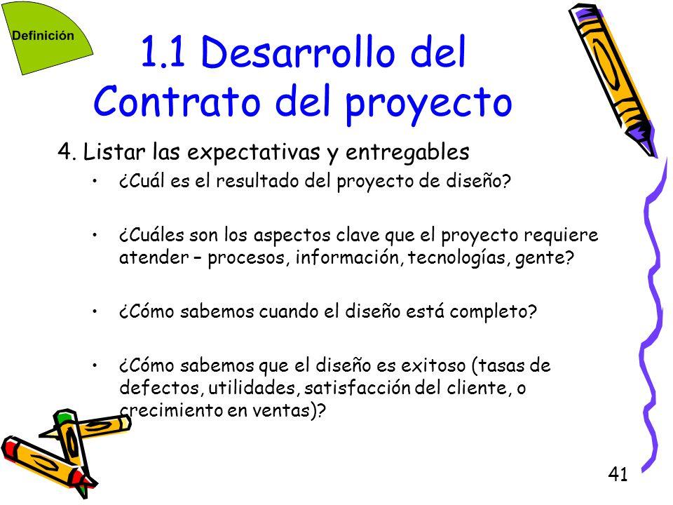 41 1.1 Desarrollo del Contrato del proyecto 4. Listar las expectativas y entregables ¿Cuál es el resultado del proyecto de diseño? ¿Cuáles son los asp