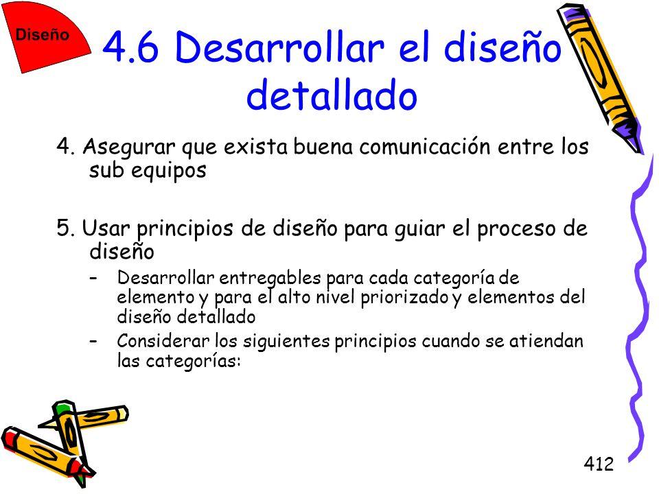 412 4.6 Desarrollar el diseño detallado 4. Asegurar que exista buena comunicación entre los sub equipos 5. Usar principios de diseño para guiar el pro