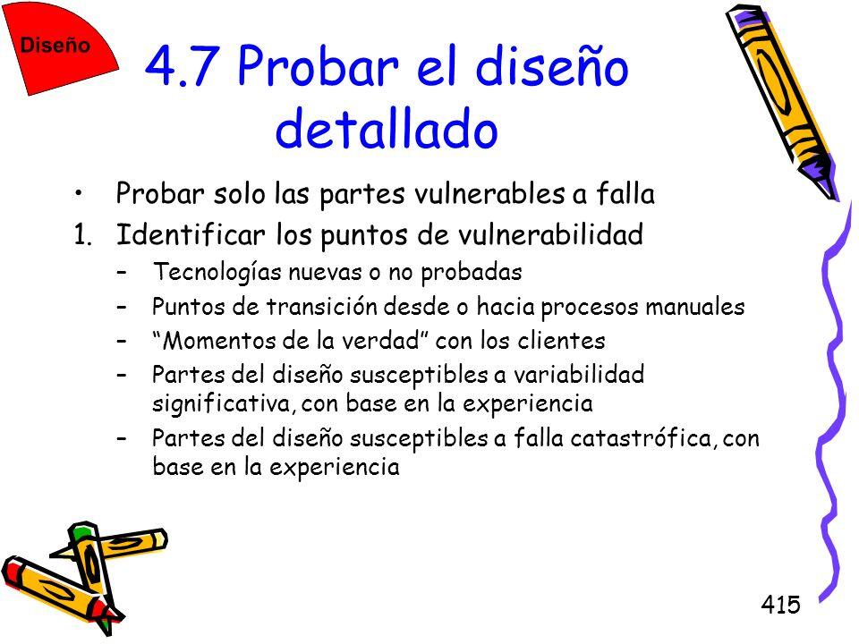415 4.7 Probar el diseño detallado Probar solo las partes vulnerables a falla 1.Identificar los puntos de vulnerabilidad –Tecnologías nuevas o no prob