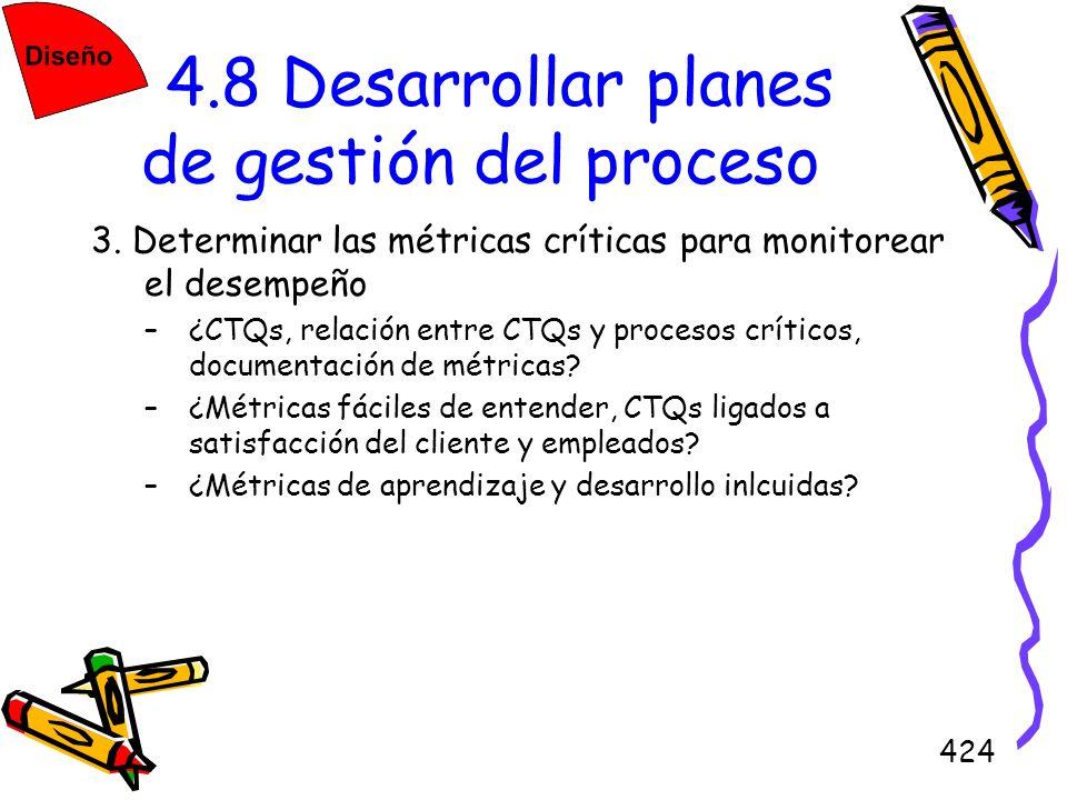 424 4.8 Desarrollar planes de gestión del proceso 3. Determinar las métricas críticas para monitorear el desempeño –¿CTQs, relación entre CTQs y proce