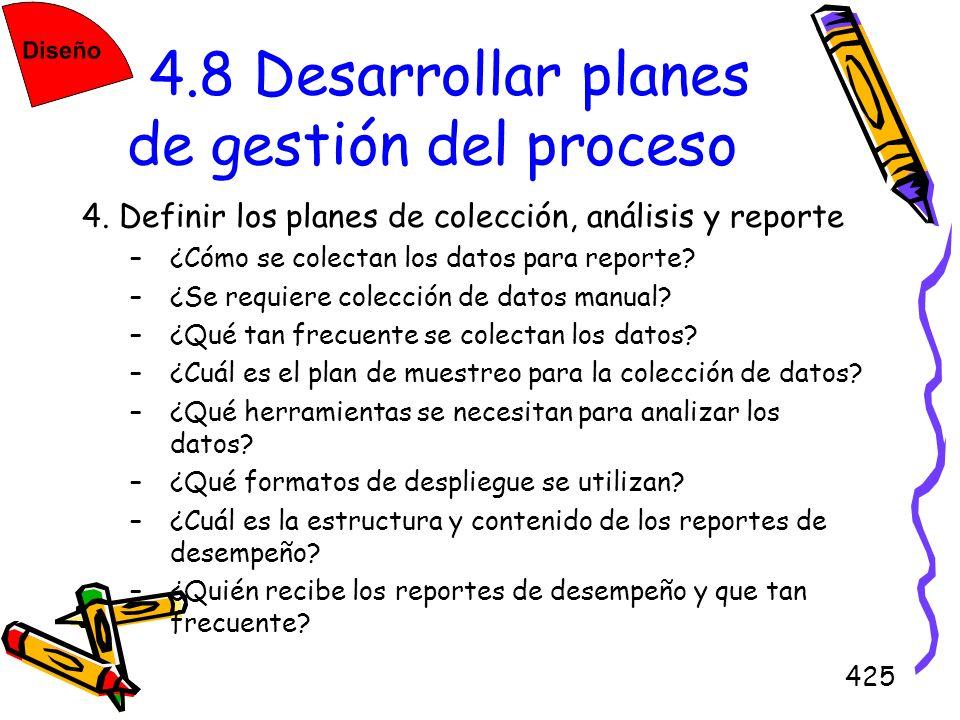 425 4.8 Desarrollar planes de gestión del proceso 4. Definir los planes de colección, análisis y reporte –¿Cómo se colectan los datos para reporte? –¿