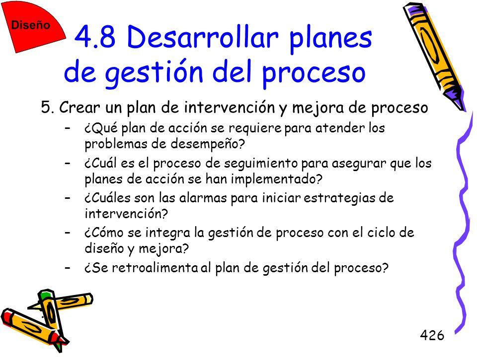 426 4.8 Desarrollar planes de gestión del proceso 5. Crear un plan de intervención y mejora de proceso –¿Qué plan de acción se requiere para atender l