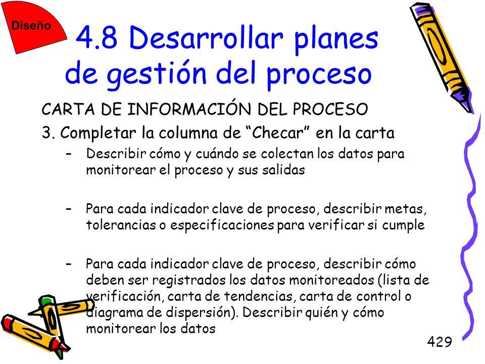 429 4.8 Desarrollar planes de gestión del proceso CARTA DE INFORMACIÓN DEL PROCESO 3. Completar la columna de Checar en la carta –Describir cómo y cuá