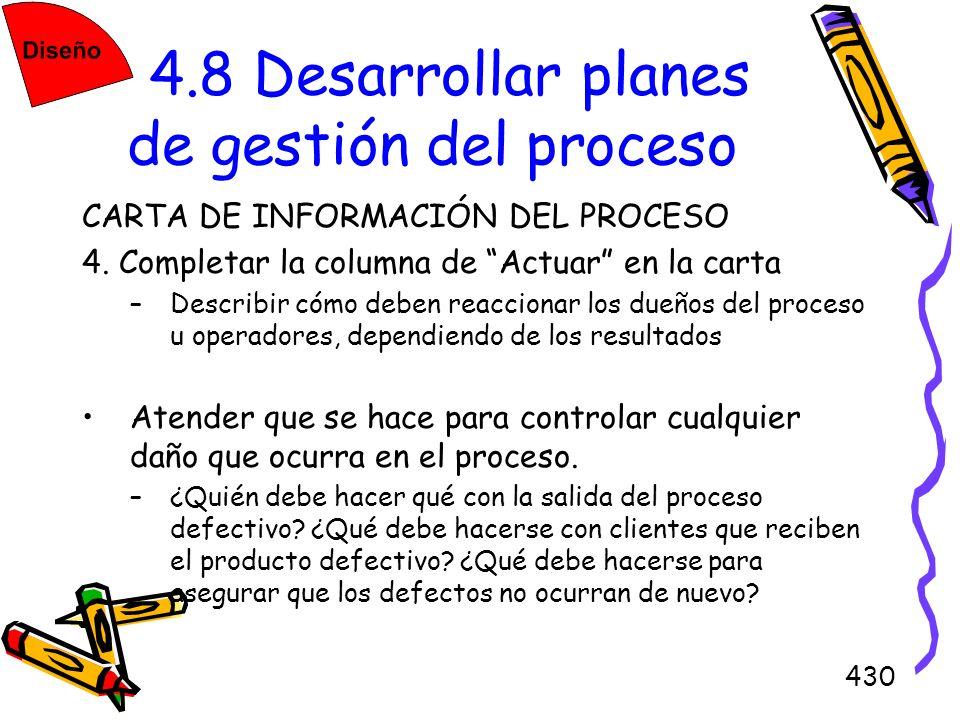 430 4.8 Desarrollar planes de gestión del proceso CARTA DE INFORMACIÓN DEL PROCESO 4. Completar la columna de Actuar en la carta –Describir cómo deben