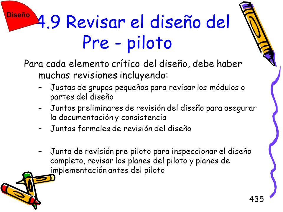 435 4.9 Revisar el diseño del Pre - piloto Para cada elemento crítico del diseño, debe haber muchas revisiones incluyendo: –Justas de grupos pequeños