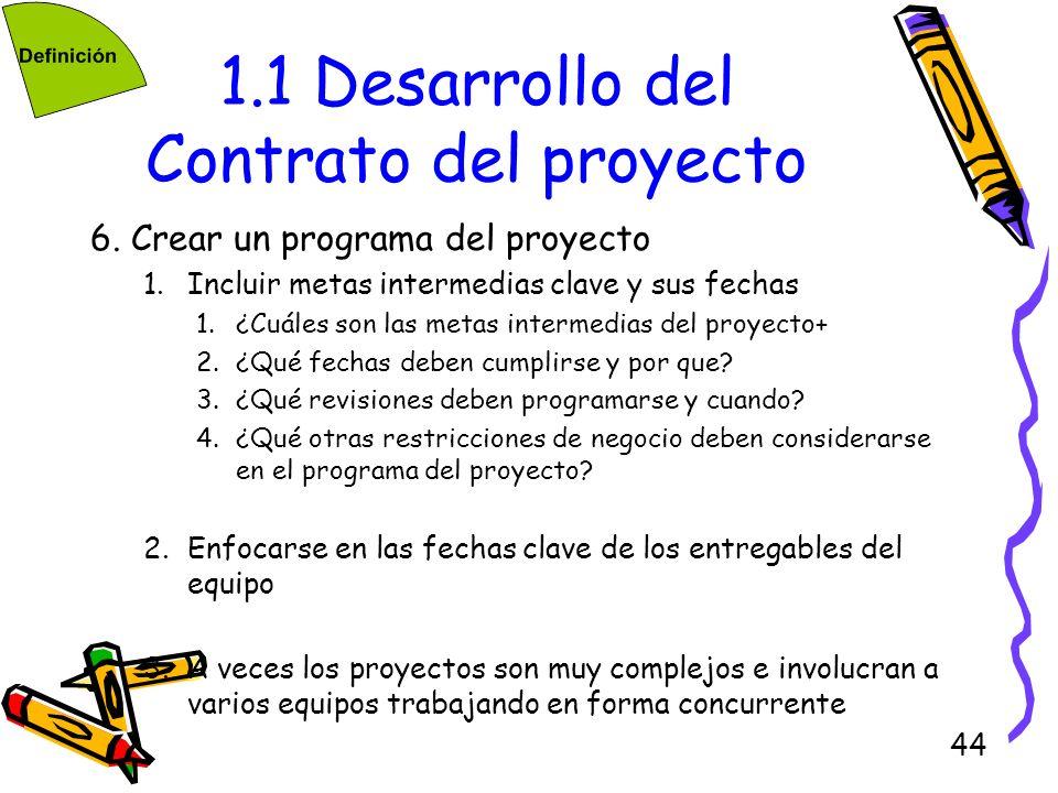 44 1.1 Desarrollo del Contrato del proyecto 6. Crear un programa del proyecto 1.Incluir metas intermedias clave y sus fechas 1.¿Cuáles son las metas i