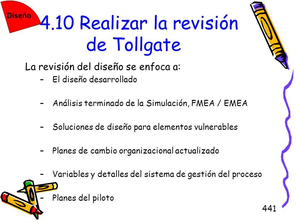 441 4.10 Realizar la revisión de Tollgate La revisión del diseño se enfoca a: –El diseño desarrollado –Análisis terminado de la Simulación, FMEA / EME