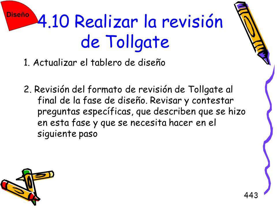 443 4.10 Realizar la revisión de Tollgate 1. Actualizar el tablero de diseño 2. Revisión del formato de revisión de Tollgate al final de la fase de di