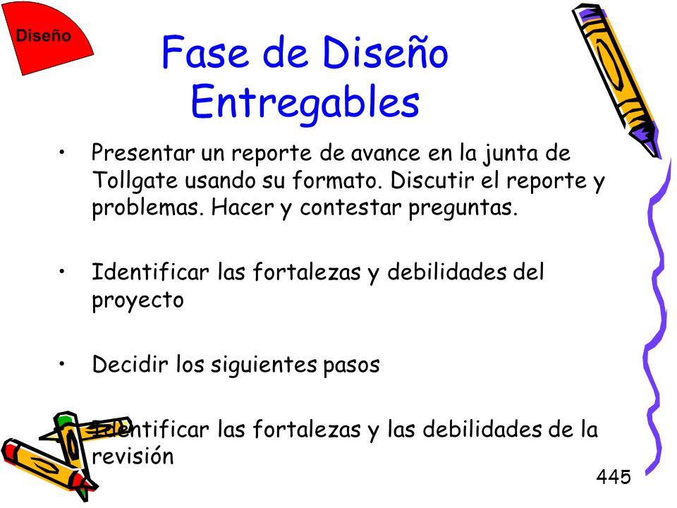 445 Fase de Diseño Entregables Presentar un reporte de avance en la junta de Tollgate usando su formato. Discutir el reporte y problemas. Hacer y cont