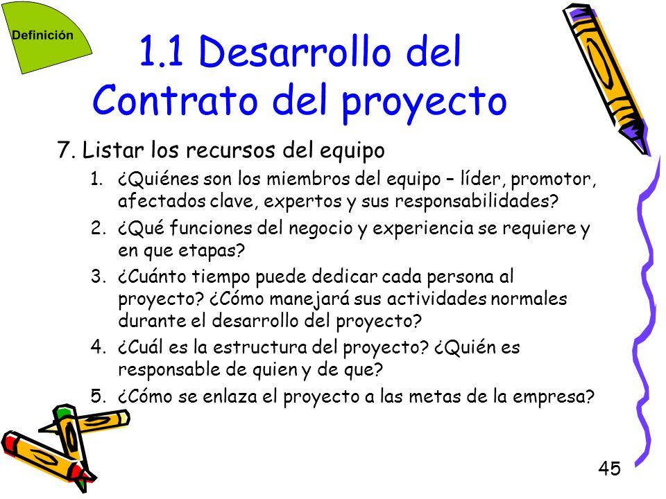 45 1.1 Desarrollo del Contrato del proyecto 7. Listar los recursos del equipo 1.¿Quiénes son los miembros del equipo – líder, promotor, afectados clav