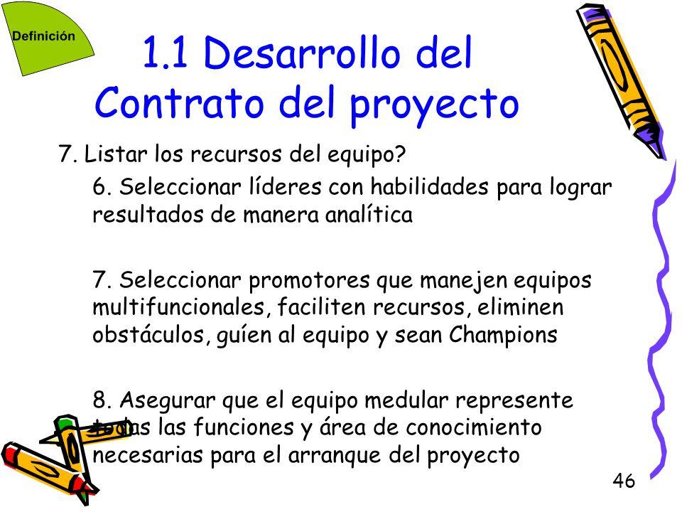 46 1.1 Desarrollo del Contrato del proyecto 7. Listar los recursos del equipo? 6. Seleccionar líderes con habilidades para lograr resultados de manera
