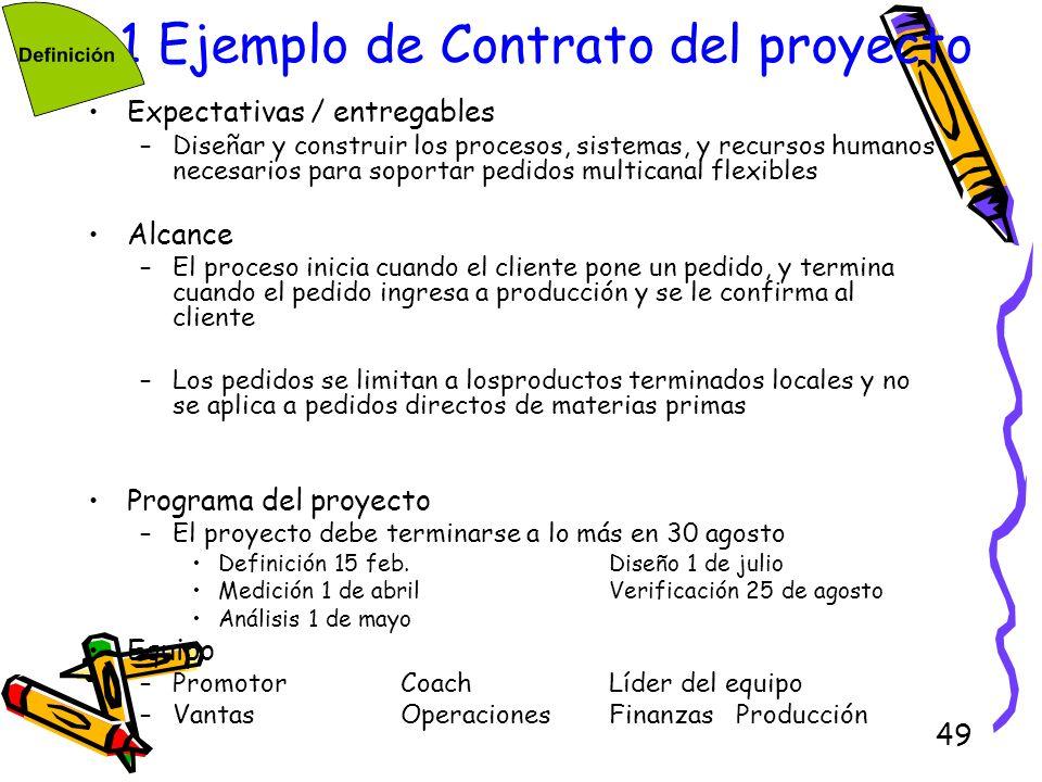 49 1.1 Ejemplo de Contrato del proyecto Expectativas / entregables –Diseñar y construir los procesos, sistemas, y recursos humanos necesarios para sop
