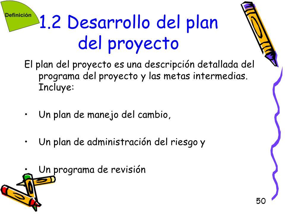 50 1.2 Desarrollo del plan del proyecto El plan del proyecto es una descripción detallada del programa del proyecto y las metas intermedias. Incluye: