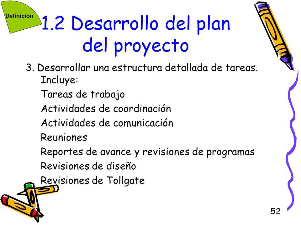 52 1.2 Desarrollo del plan del proyecto 3. Desarrollar una estructura detallada de tareas. Incluye: Tareas de trabajo Actividades de coordinación Acti
