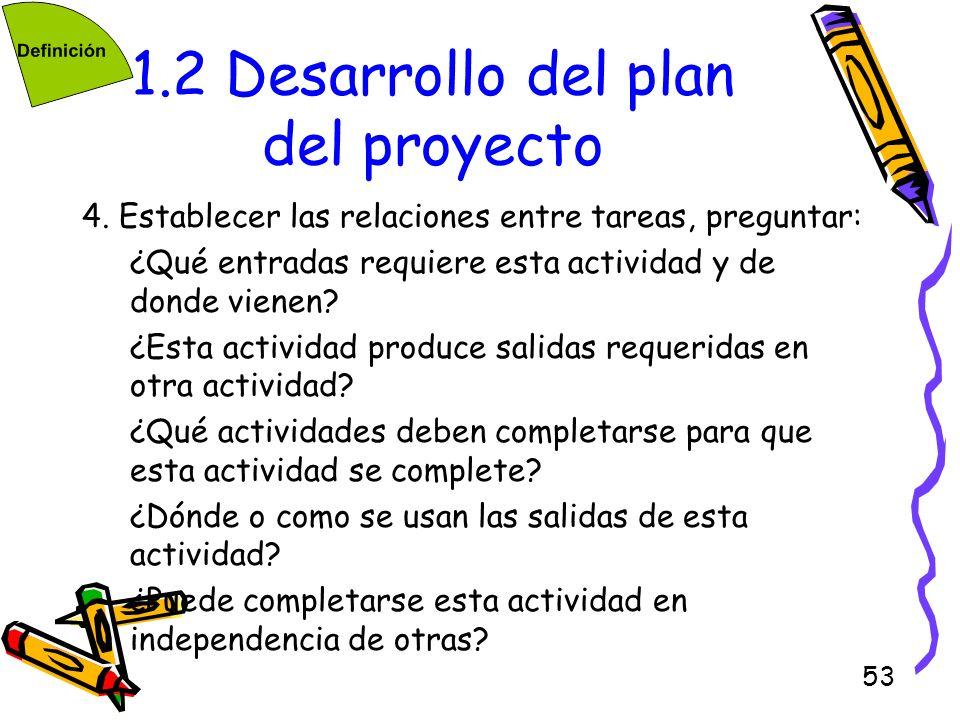53 1.2 Desarrollo del plan del proyecto 4. Establecer las relaciones entre tareas, preguntar: ¿Qué entradas requiere esta actividad y de donde vienen?
