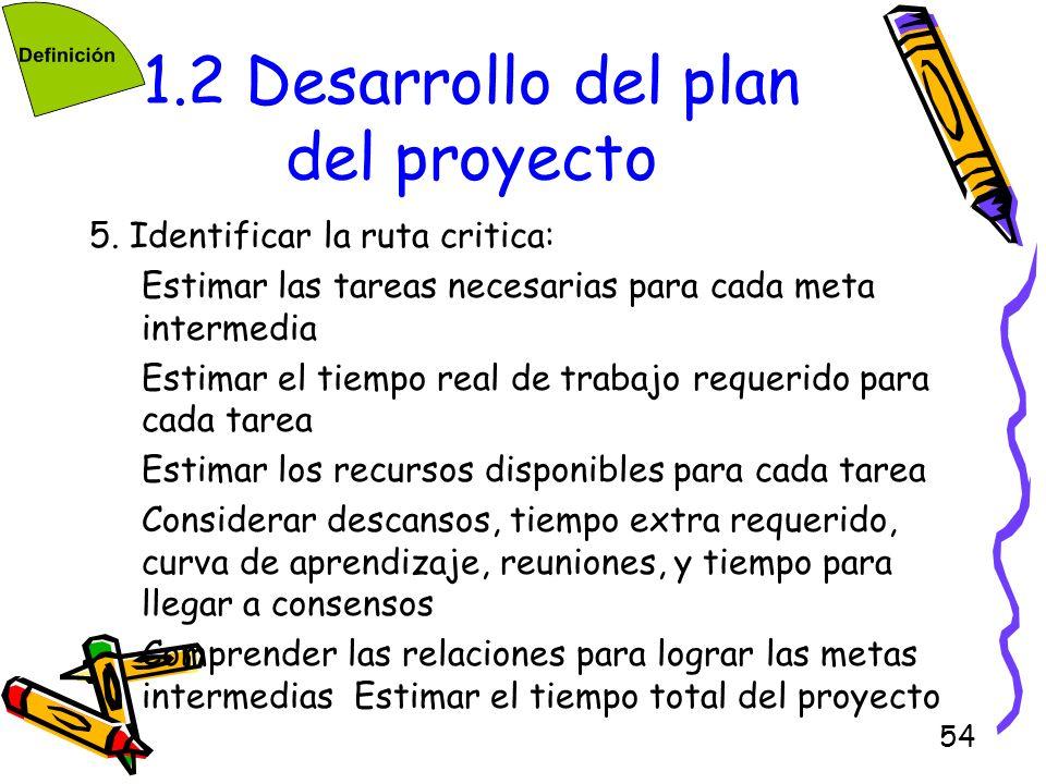 54 1.2 Desarrollo del plan del proyecto 5. Identificar la ruta critica: Estimar las tareas necesarias para cada meta intermedia Estimar el tiempo real