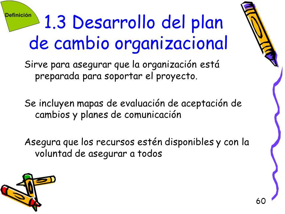 60 1.3 Desarrollo del plan de cambio organizacional Sirve para asegurar que la organización está preparada para soportar el proyecto. Se incluyen mapa