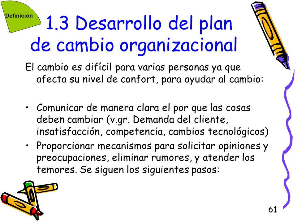 61 1.3 Desarrollo del plan de cambio organizacional El cambio es difícil para varias personas ya que afecta su nivel de confort, para ayudar al cambio