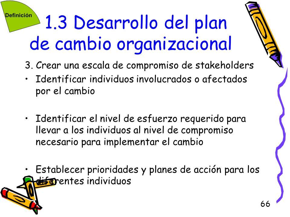 66 1.3 Desarrollo del plan de cambio organizacional 3. Crear una escala de compromiso de stakeholders Identificar individuos involucrados o afectados
