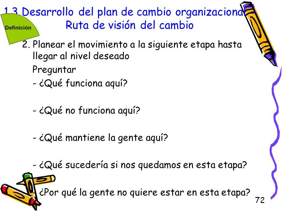 72 1.3 Desarrollo del plan de cambio organizacional – Ruta de visión del cambio 2. Planear el movimiento a la siguiente etapa hasta llegar al nivel de
