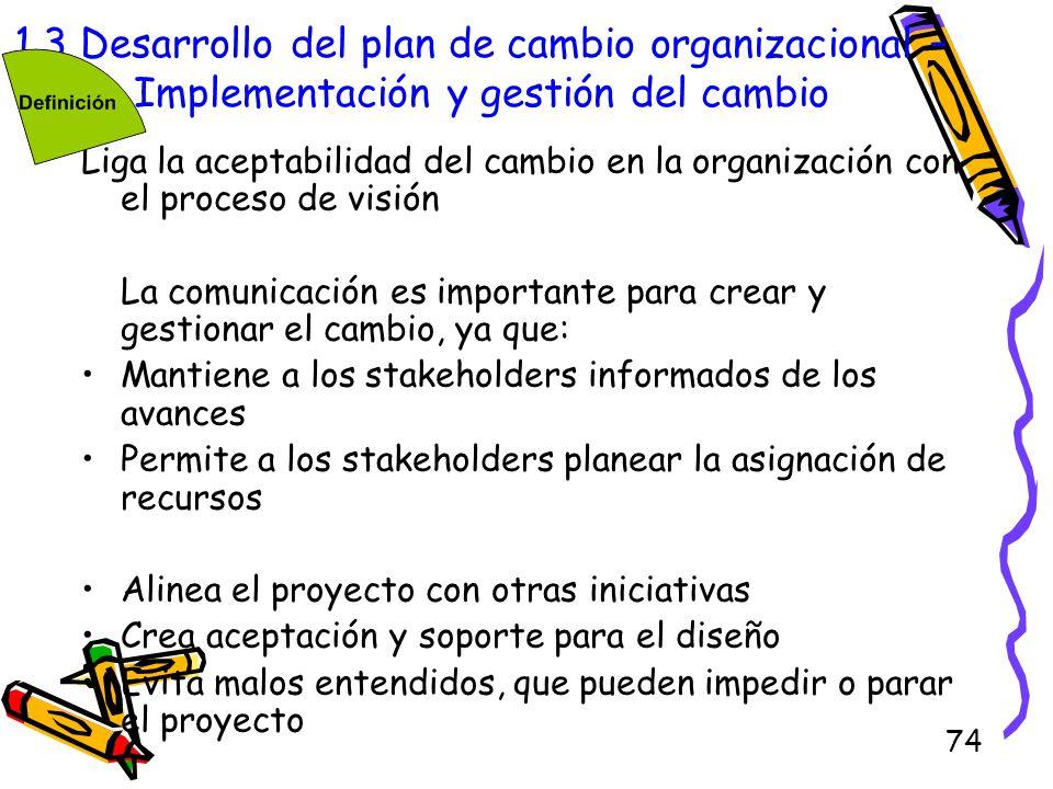 74 1.3 Desarrollo del plan de cambio organizacional – Implementación y gestión del cambio Liga la aceptabilidad del cambio en la organización con el p